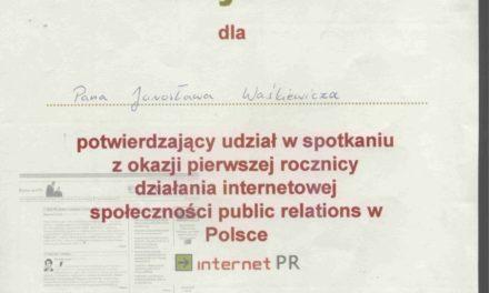 Pierwsza rocznica społeczności PR w Polsce. Rok 2003