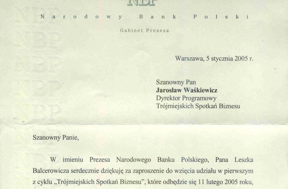 Podziękowanie od Prezesa Narodowego Banku Polskiego. Rok 2005